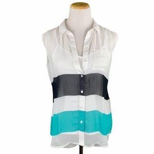 Liz Claiborne Petite Sheer Blouse w/ White Cami